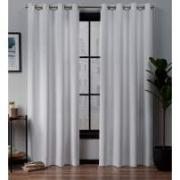 Exclusive Home Curtains Academy Total Blackout Grommet Top Curtain Panel Pair, White, 52x84