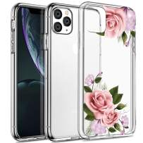 Spevert iPhone 11 Pro Case 5.8 inches, Flower Pattern Printed Clear Design Transparent Hard Back Case with TPU Bumper Cover for iPhone 11 Pro 5.8 inch 2019 Released - Pink Rose