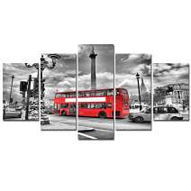 Black White Wall Art Canvas - 5 Piece Framed Picture Photo Prints Red Bus London Poster Cityscape Street Home Office Decoration Modern Artwork Kitchen Painting Living Room Bedroom Decor Ready to Hang