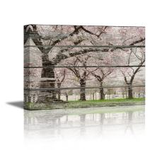 """wall26 - Canvas Prints Wall Art - Cherry Blossom in Spring on Vintage Wood Background Rustic Home Decoration - 32"""" x 48"""""""