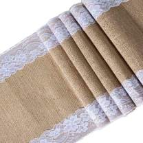 E EVERKING Burlap Lace Hessian Table Runner, Rustic Natural Jute Country Table Decoration Wedding Party Decoration Baby Shower Farmhouse Decor 12X108 Inch (A - 1 Pack)