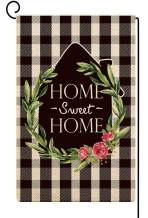 Baccessor Home Sweet Home Garden Flag Vertical Double Sided Buffalo Check Plaid Rose Flowers Spring Summer Seasonal Yard Outdoor Rustic Farmhouse Décor 12 x 18 Inches (Black White Plaid)