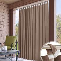 RYB HOME Outdoor Curtain for Patio - Detachable Top Blackout Waterproof Indoor Outdoor Curtains for Balcony Yard Porch Canopy Pavilion Downstairs Window, W 100 x L 95, 1 Pc, Mocha