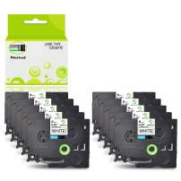 NineLeaf 10 Pack 3/8 Inch TZ 221 Tze221 Black on White Label Tape Compatible for Brother P-Touch Label Maker