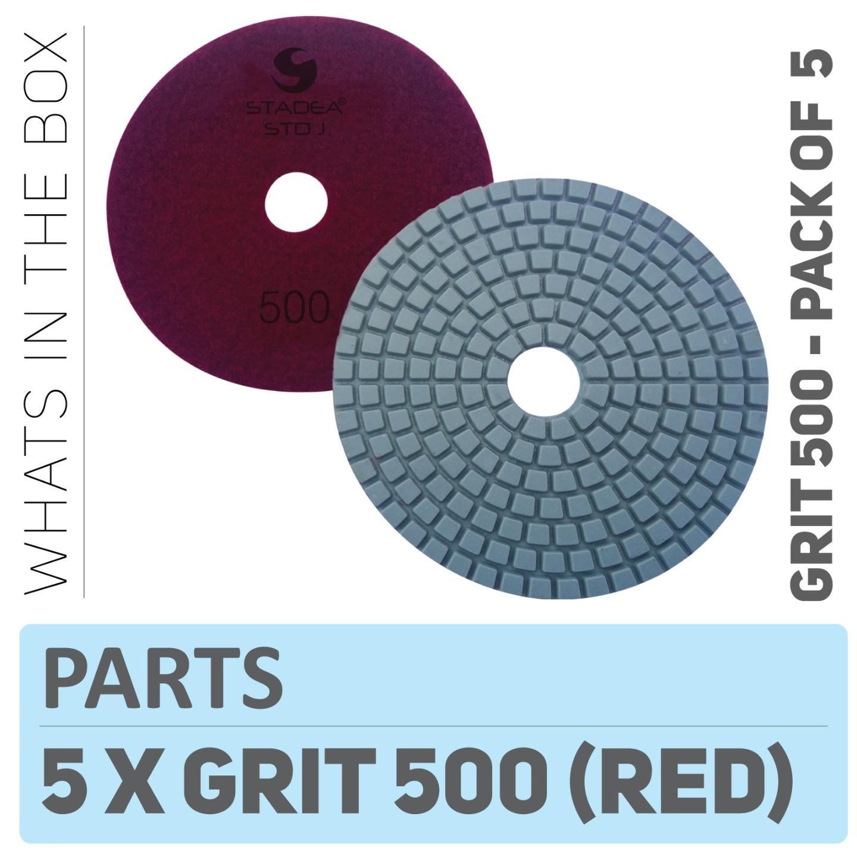 "Stadea PPW141D Diamond Polishing Pads 4"" For Concrete Terrazzo Marble Stone Granite Edge Countertop Floor Wet Polishing, Grit 500 - Pack of 5"