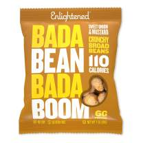 Bada Bean Bada Boom Plant-based Protein, Gluten Free, Vegan, Non-GMO, Soy Free, Kosher, Roasted Broad Fava Bean Snacks, 110 Calories per Bag, Sweet Onion & Mustard, 1 Ounce (24 Count)