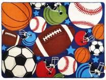 HUAHOO Blue Kids Rug Fun Sport Rugs Nylon Carpet Boys Girls Childrens Rug Balls Print with Soccer Ball, Basketball, Football, Tennis Ball Bedroom Playroom (80 x 120cm(31.5'' x 47''))