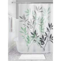 """iDesign Leaves Fabric Shower Curtain, Water-Repellent Bath Liner for Kids', Guest, College Dorm, Master Bathroom, 72"""" x 72"""", Mint Green and Gray"""