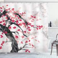 """Lunarable Japanese Shower Curtain, Sakura Tree Cherry Blossoms in Japanese Style Garden Abstract Image, Cloth Fabric Bathroom Decor Set with Hooks, 75"""" Long, White Brown"""