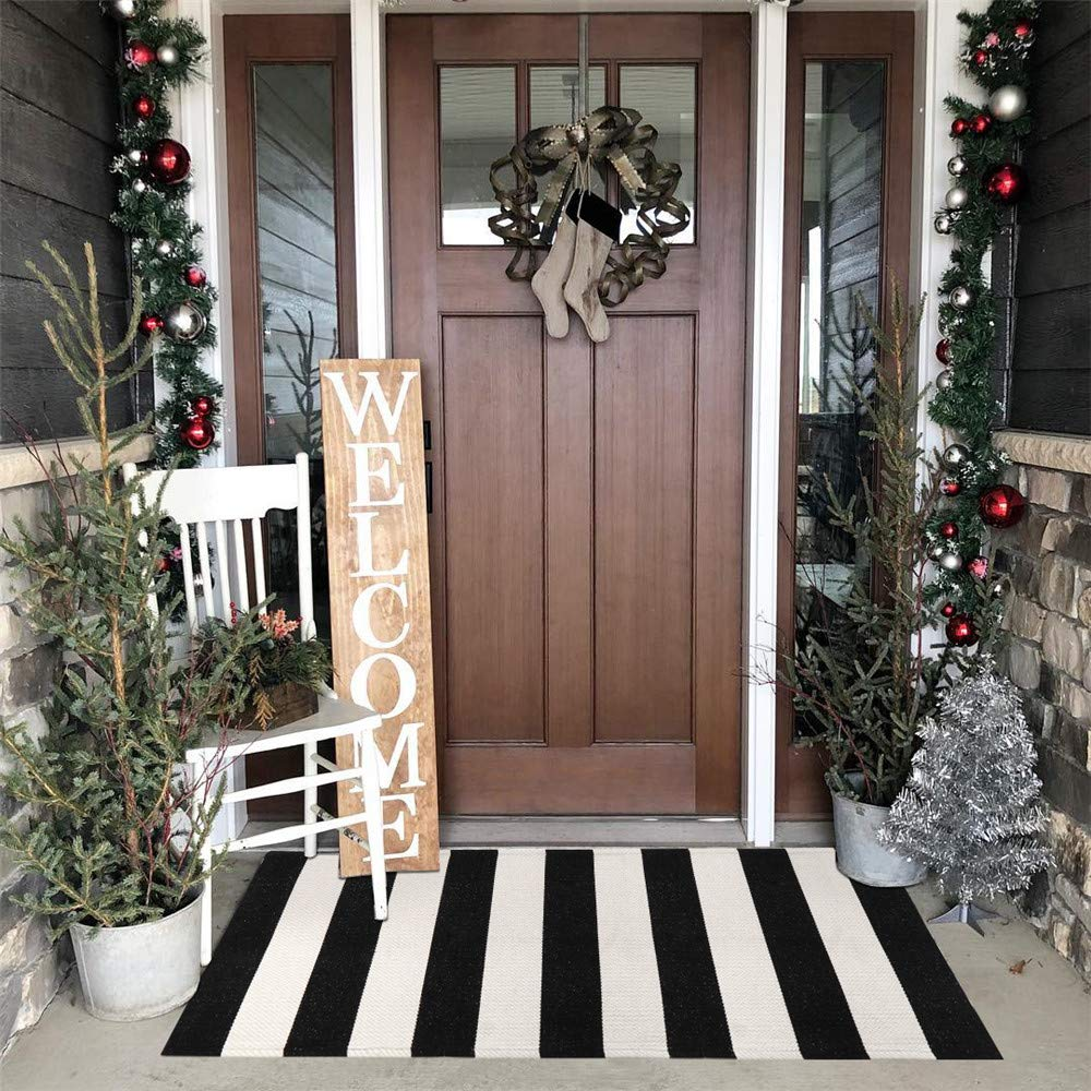 Seavish Indoor Outdoor Doormats, 2'x4.3' Black and White Ivory Stripes Rug Handmade Woven Runner Floor Rug, Machine Washable Small Carpet Welcome Mat Cotton Area Rug for Porch/Kitchen/Entry Way