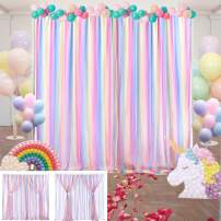 Unicorn Party Backdrop Rainbow Tulle Backdrop Curtains for Wedding Birthday Photography Decor 2PCS (5ft×7ft)
