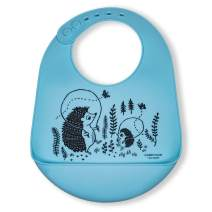 modern-twist Bucket Bib – 100% plastic free silicone, waterproof, adjustable, dishwasher safe, Hedgehog Family