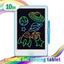 Upgraded 10 Inch Writing Board Colorful Version with Lock Function Erasable Electronic Doodle and Scribble Board Drawing Memo Notes Taking Gifts for Kids & Adults Blue & White with 1 Lanyard