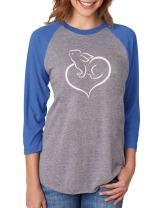 Love Heart Bunny Easter Rabbit 3/4 Women Sleeve Baseball Raglan Shirt
