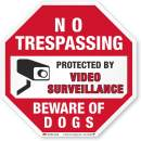 "SmartSign No Trespassing Protected by Video Surveillance Sign - Beware of Dogs Sign | 3M Authorized, 12"" Octagon, Reflective Aluminum Metal, for Fence/Outdoors"
