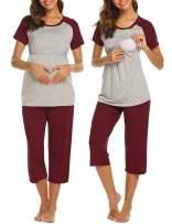 Ekouaer Double Layers Labor/Delivery/Nursing Maternity Pajamas Capri Set for Hospital Home, Baseball Shirt,Adjustable Size