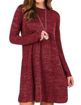 Sanifer Women's Knit Long Sleeve T Shirt Dress Sweater Dress Tunic Dress