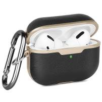 Airpods Pro Case Leather, Genuine Leather Airpod 3 Case with Keychain for Airpods Pro Protective Cover Dust Guard Skin Brown Men Women (Black)