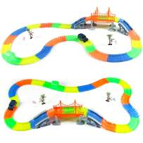 TongLi 6603 Electric Slot Car Race Tracks Cars Sets for Kids Indoor Toy Age 3 4 5 6 7 8 9 10 11 12 Years Old Boys Girls Toddler Gift Flexible with LED Light (220pcs)