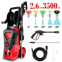 High Pressure Washer 3500 Max PSI 2.6 GPM Electric Car Pressure Washer with Hose Reel, 32 ft Cable and 5 Quick-Connect Spray Tips for Home Garden (US Stock) (Red)