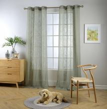 """MIUCO Semi Sheer Curtains Poly Linen Textured Solid Grommet Curtains 95 Inches Long for Bedroom 2 Panels (2 x 37 Wide x 95"""" Long) Sage"""