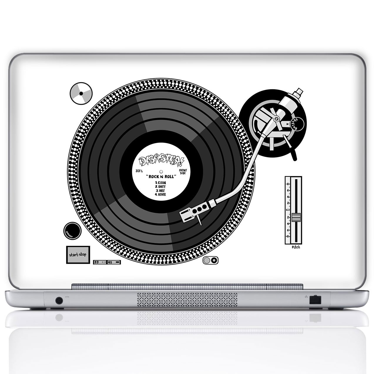 Meffort Inc 14 Inch Laptop Notebook Skin Sticker Cover Art Decal (Free Wrist pad) - Record Player