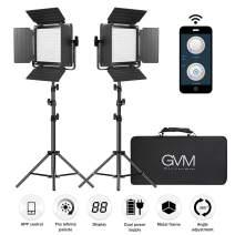 GVM 560 LED Video Light with APP Intelligent Control System, 2 Packs Bi-Color Video Lighting Kit, 2300K-6800K, CRI 97+ Photography Lighting for YouTube, Studio, Outdoor