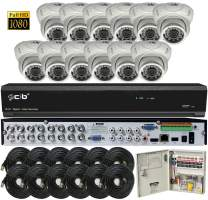 CIB Security T80P16K2T03W-TAI-12KIT 16CH 1080P Video Security DVR, 2TB HDD & 12x2.1-MP 1920TVL Night Vision Camera, White