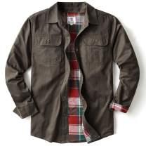 Men's Heavyweight Canvas Flannel Lined Shirt Jacket, Dark Coffee Small