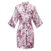 Old-to-new Women's Floral Short Kimono Robe Bride Bridesmaid Satin Nightgown Bathrobe