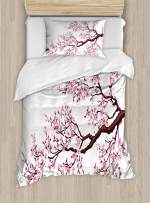 Ambesonne Japanese Duvet Cover Set, Branch of a Flourishing Sakura Tree Flowers Cherry Blossoms Spring Theme Art, Decorative 2 Piece Bedding Set with 1 Pillow Sham, Twin Size, Pink Brown