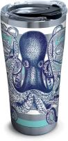 Tervis 1261362 Octopus Stainless Steel Tumbler with Clear and Black Hammer Lid 20oz, Silver