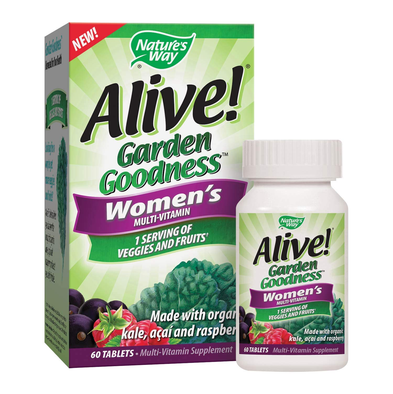 Nature's Way Alive! Garden Goodness Women's  Multivitamin, Veggie & Fruit Blend (1400mg per serving), Made with Organic Kale, 60 Tablets
