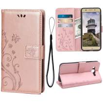 Wallet Case for Huawei Y3 2018, 3 Card Holder Embossed Butterfly Flower PU Leather Magnetic Flip Cover for Huawei Y3 2018(Rose Gold)