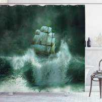 "Ambesonne Pirate Ship Shower Curtain, Old Ship in Thunderstorm Digital Artwork Fantasy Adventure, Cloth Fabric Bathroom Decor Set with Hooks, 70"" Long, Dark Green"