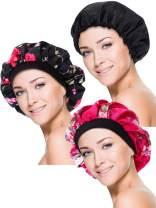 Blulu 3 Pieces Sleep Cap Satin Bonnet Night Head Cover Sleeping Soft Hair Turbans for Women and Girls (Style Set 3)
