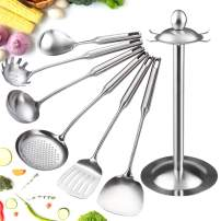 Cooking Utensils,18/8 Stainless Steel Cooking Utensils Set,Kitchen Utensils Set with Rotating Holder Includes Metal Spatula,Slotted Spatula,Ladle,Spaghetti Spoon,Food Safe Stainless Steel/7 Piece