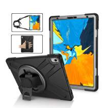 iPad Pro 11 Case Cover, TSQ Three Layer Full Body Heavy Duty Durable Hard Rugged Protective Defender Case with ipad Strap/Handle Hand Grip/360 Degree Rotating Stand/Shoulder Strap A1979/A1980 ,Black