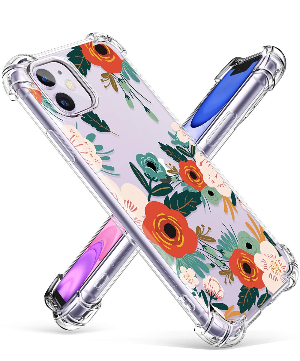 GVIEWIN iPhone 11 Case, Clear Flower Design Soft & Flexible TPU Ultra-Thin Shockproof Transparent Bumper Protective Floral Cover Case for iPhone 11 6.1 Inch 2019,Flowering/Reseda Green