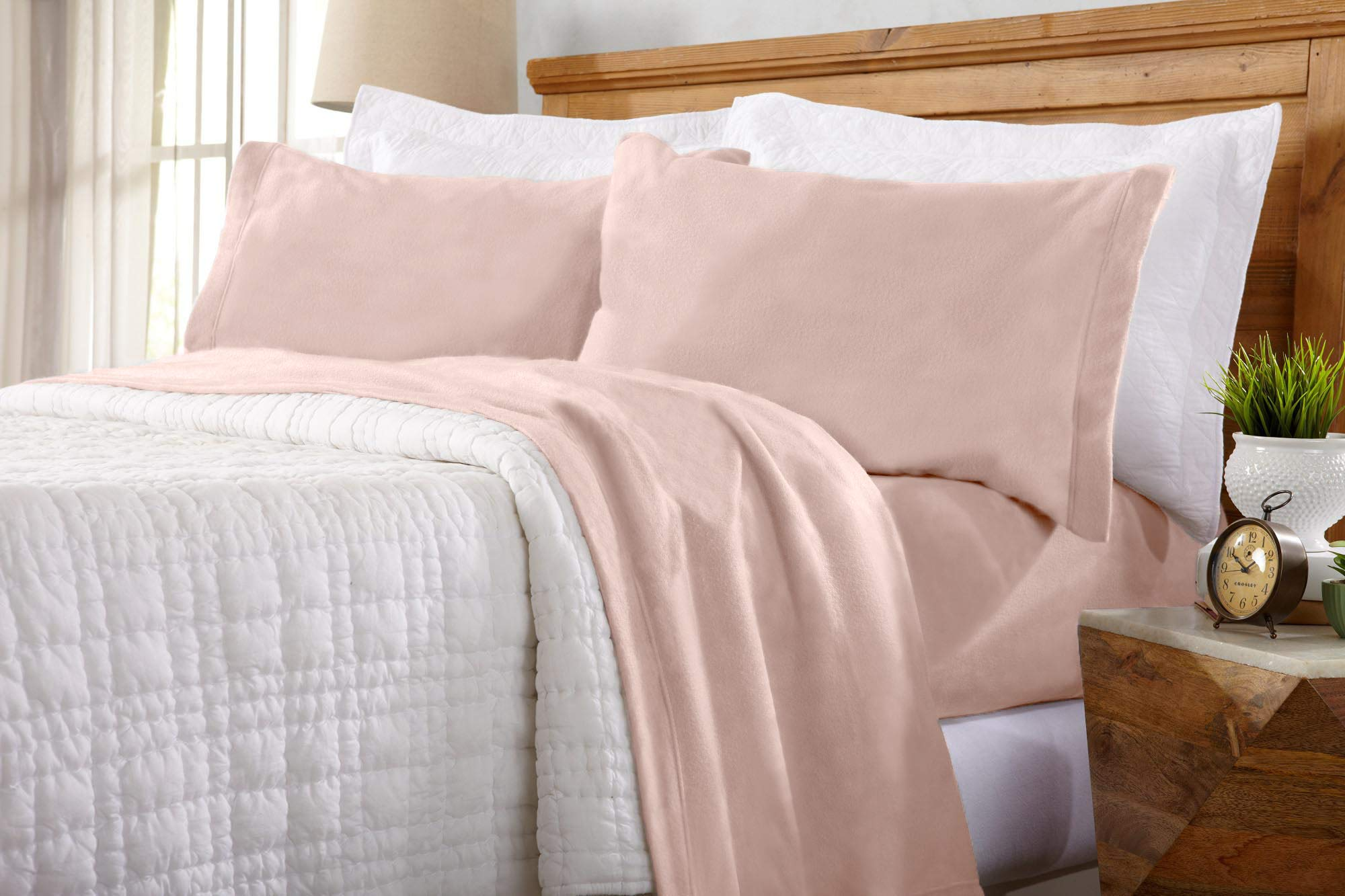 Home Fashion Designs Maya Collection Super Soft Extra Plush Fleece Sheet Set. Cozy, Warm, Durable, Smooth, Breathable Winter Sheets in Solid Colors (Twin, Blush Pink)