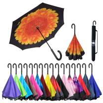 ABCCANOPY Inverted Umbrella,Double Layer Reverse Windproof Teflon Repellent Umbrella for Car and Outdoor Use, UPF 50+ Big Stick Umbrella with J Handle and Carrying Bag