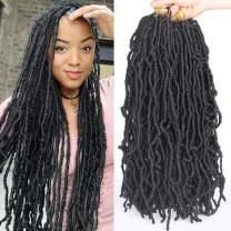 Leeven 18 Inch Nu Locs Crochet Hair 6 Packs Curly Wavy Goddess Locs Crochet Braids Hair Faux Locs African Roots Dreadlocs Synthetic Hair Extend Soft Locs Braiding Hair for Women 1B#