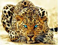 "TINMI ARTS-5D DIY Diamond Painting-Full Square Enchanting Yellow Leopard-Mosaic Cross Stitch Kits Handicrafts Home Decor Wall Sticker for Living Room[16""x12""]"