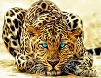 "TINMI ARTS-5D DIY Diamond Painting-Full Square Enchanting Yellow Leopard-Mosaic Cross Stitch Kits Handicrafts Home Decor Wall Sticker for Living Room[16""x12""]"
