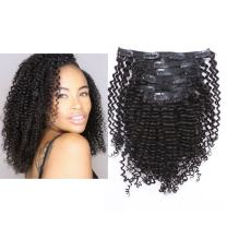 Anrosa Afro Kinky Clip in Human Hair 1B Natural Black Afro Kinky Curly Clip in Hair Extensions for Black Women 3C 4A Type Real Remy Hair Thick 120 Gram 10-22 Inch (16 Inch, Kinky Curly #1B)