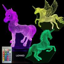 3PCS 3D Unicorn Night Light——3D Unicorn Lamp 3 Pattern 7 Colors Changing Decor Lamp with Remote Control for Kids Illusion Bedside Lamps Ideal Gifts for Girls and Unicorn Lovers