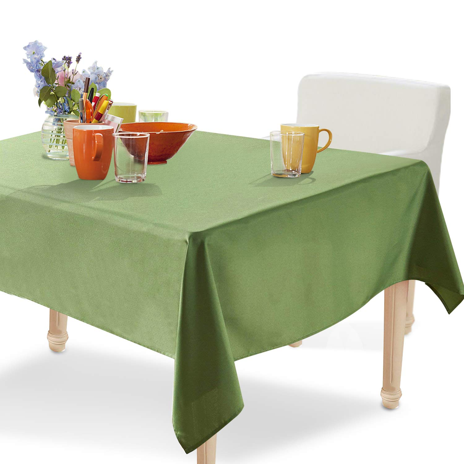 YEMYHOM Rectangle Tablecloth 60 x 84 Inch Spill-Proof Oil-Proof Microfiber Table Cover Machine Washable Indoor Outdoor Rectangular Table Cloth for Spring Summer Party Picnic Camping (Army Green)