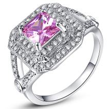 Narica Womens Fancy 6mmx6mm Princess Cut Pink Topaz Cubic Zirconia Engagement Ring