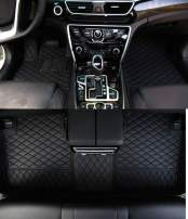 Worth-Mats Custom Fit Luxury XPE Leather Waterproof Floor Mat for Jaguar F-Type (Black with Black Stitching)