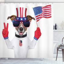 """Ambesonne 4th of July Shower Curtain, Funny Pet Dog with an Uncle Sam Hat Holding a Peace Sign and an American Flag, Cloth Fabric Bathroom Decor Set with Hooks, 70"""" Long, Red Navy"""